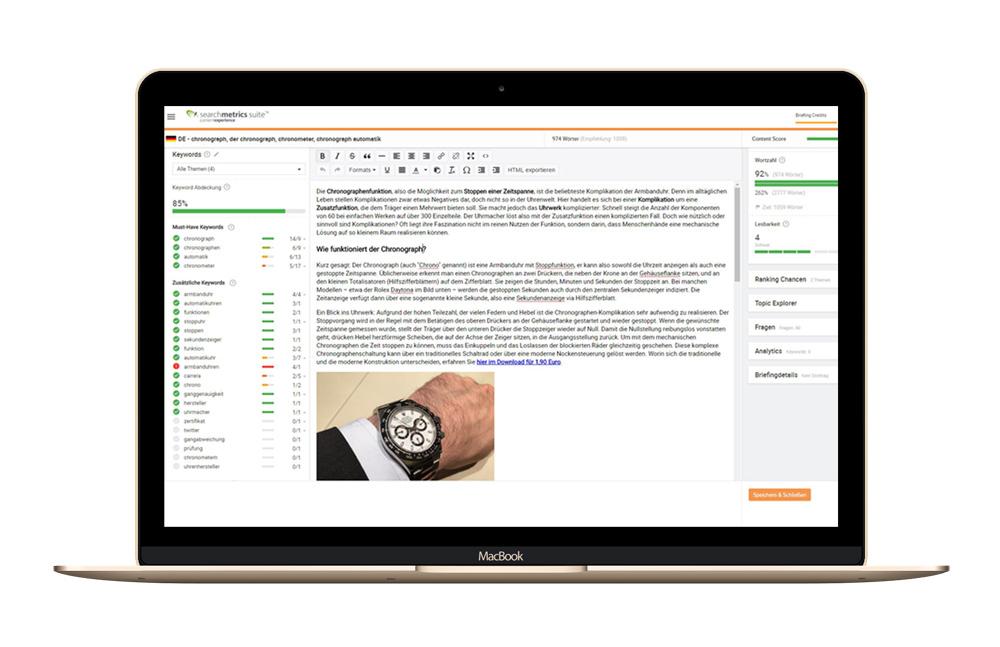 Abbildung 2: Searchmetrics Content Experience: Content Editor