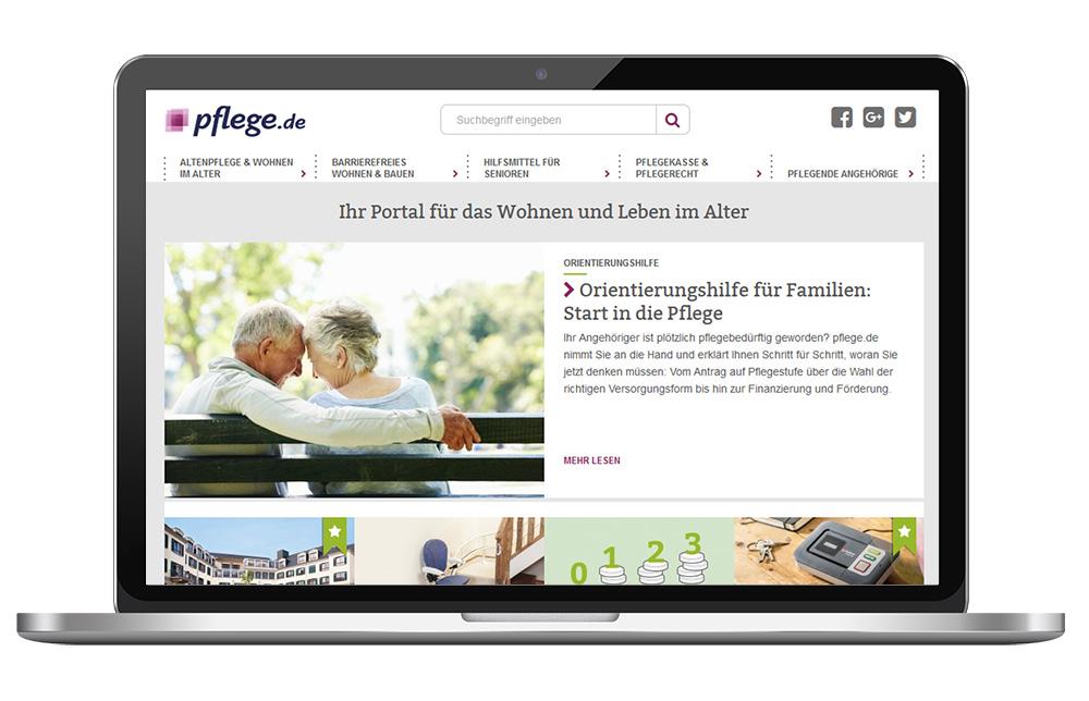 Case Study mit pflege.de: Homepage