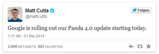 Matt Cutts: Google is rolling out Panda 4.0 21-May 2014