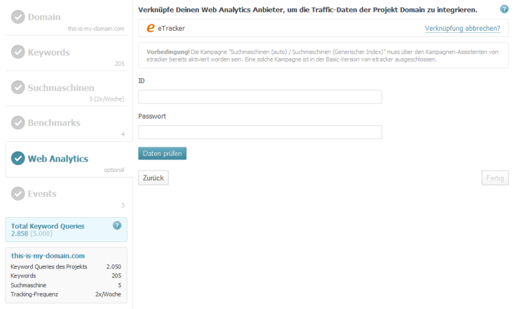 Searchmetrics Suite Projekt Wizard Analytics etracker-Verknüpfung