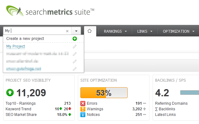 Searchmetrics Suite Quick Search