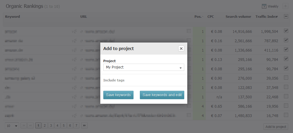 Searchmetrics Suite Add Rankings to Project