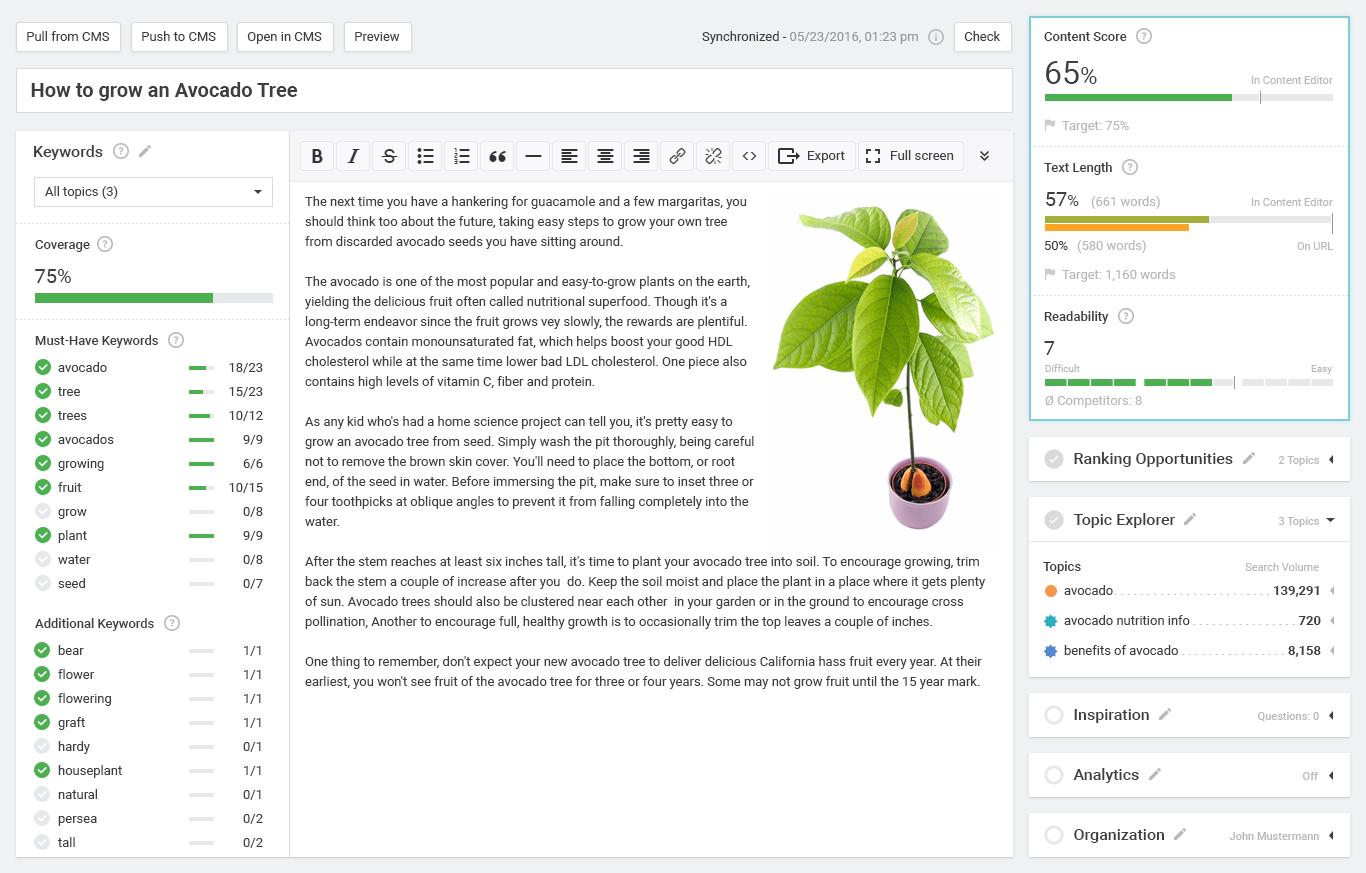 Searchmetrics Content Editor