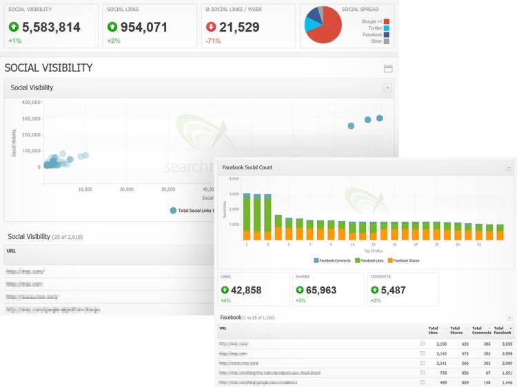 Searchmetrics Essentials Social Visibility Screens