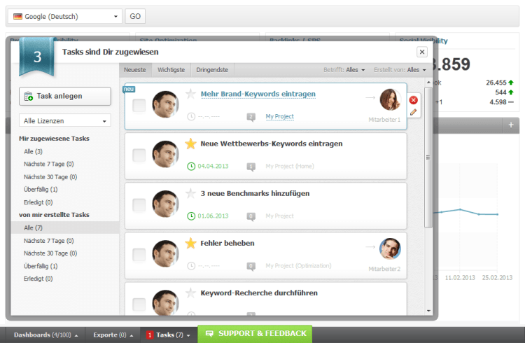 Searchmetrics Suite Task Management DE