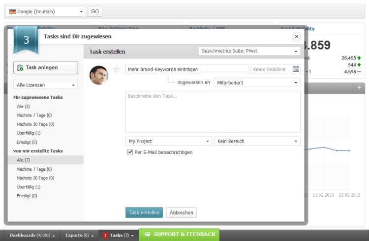 Searchmetrics Suite Task Management 3 DE