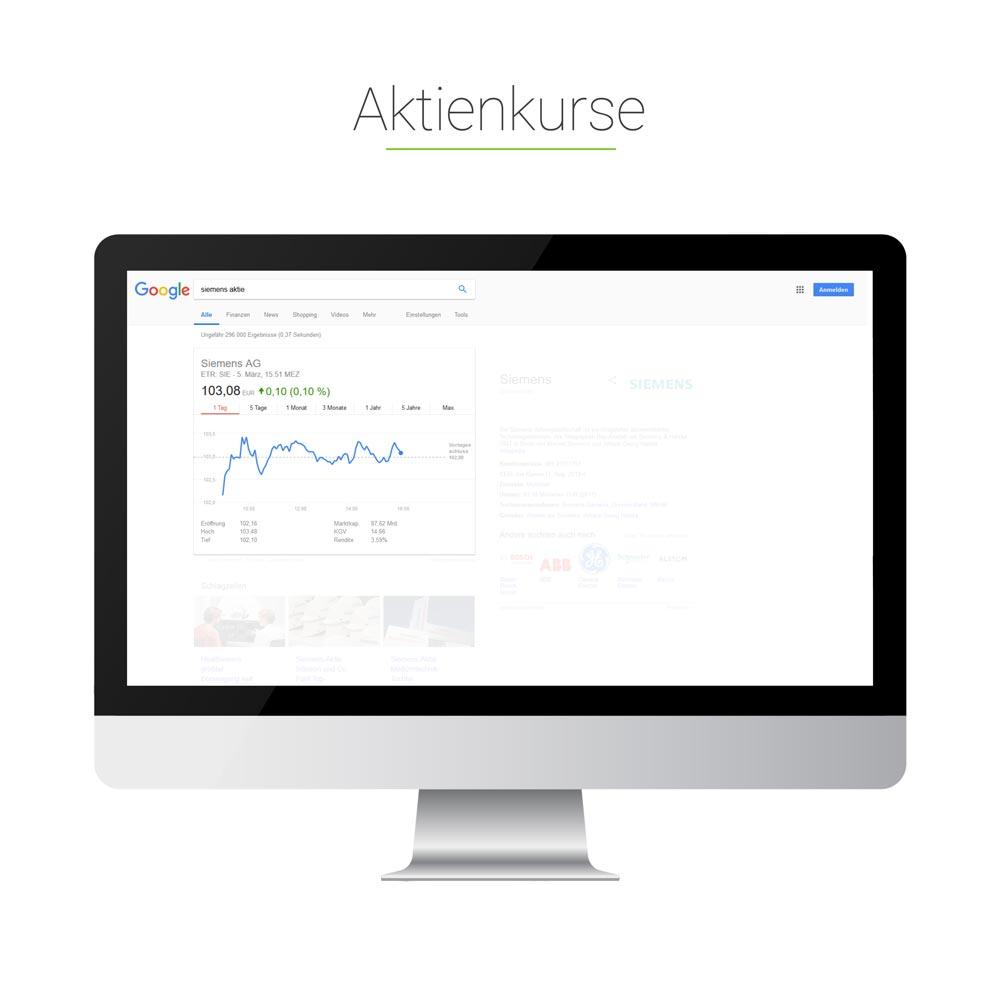 Universal Search: Aktienkurse