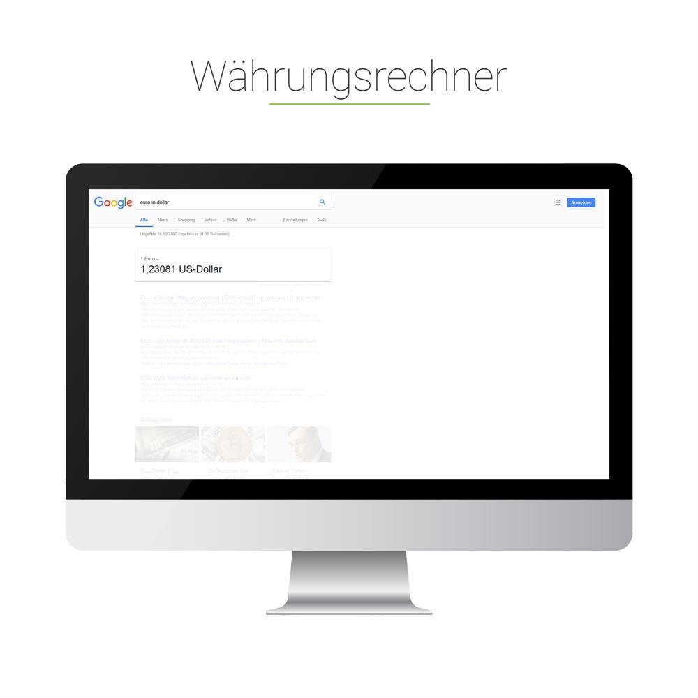 Universal Search: Währungsrechner