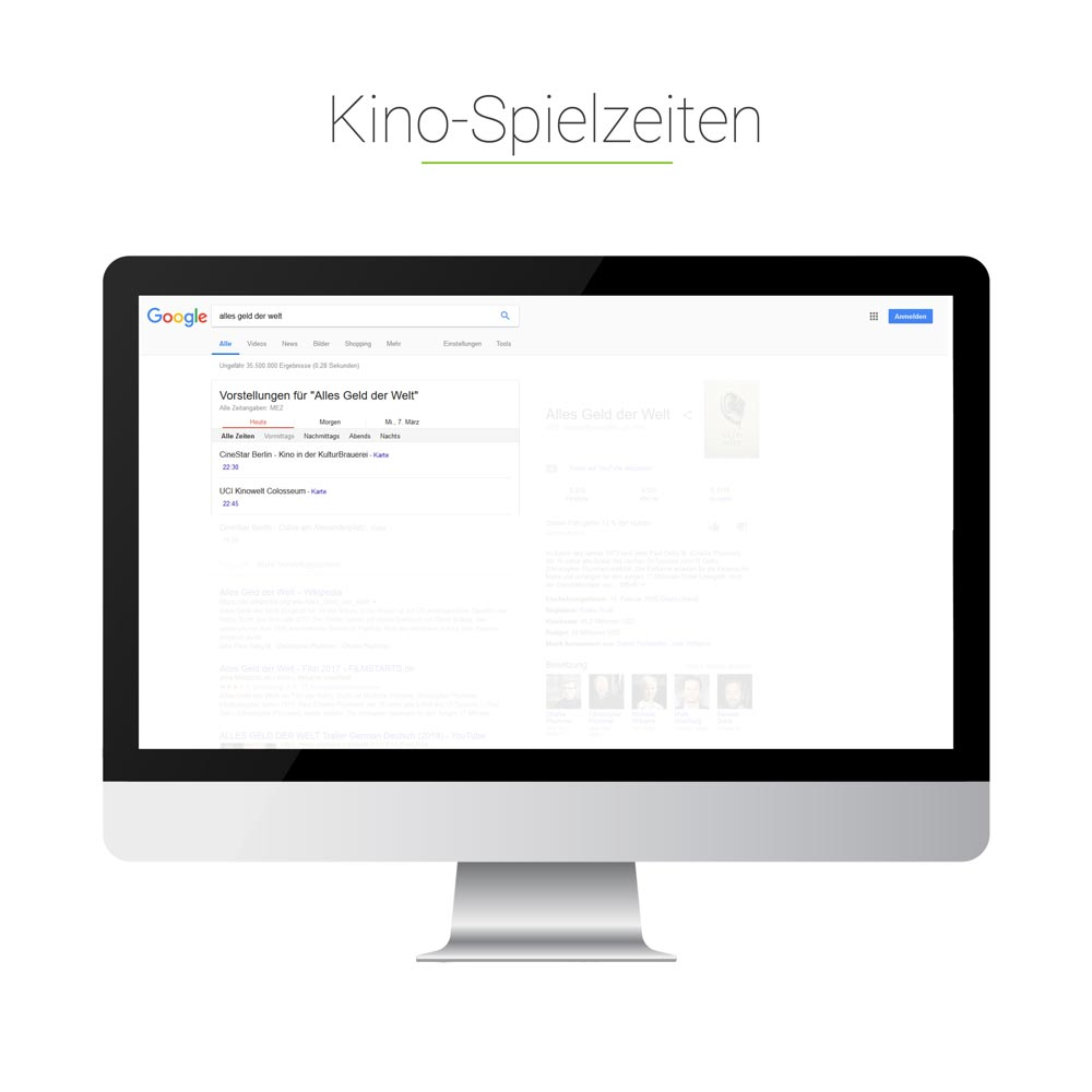 Universal Search: Kino-Spielzeiten