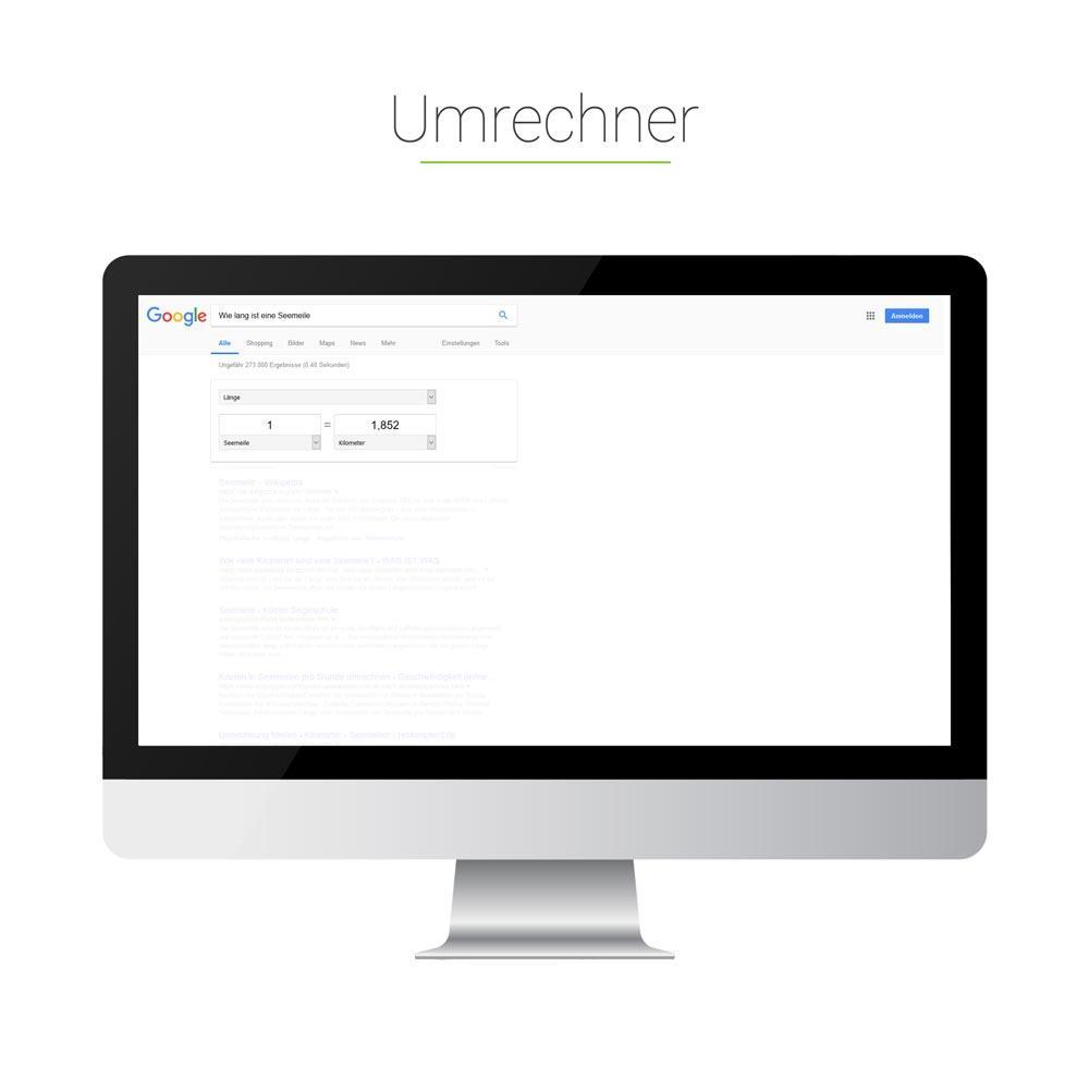 Universal Search: Umrechner