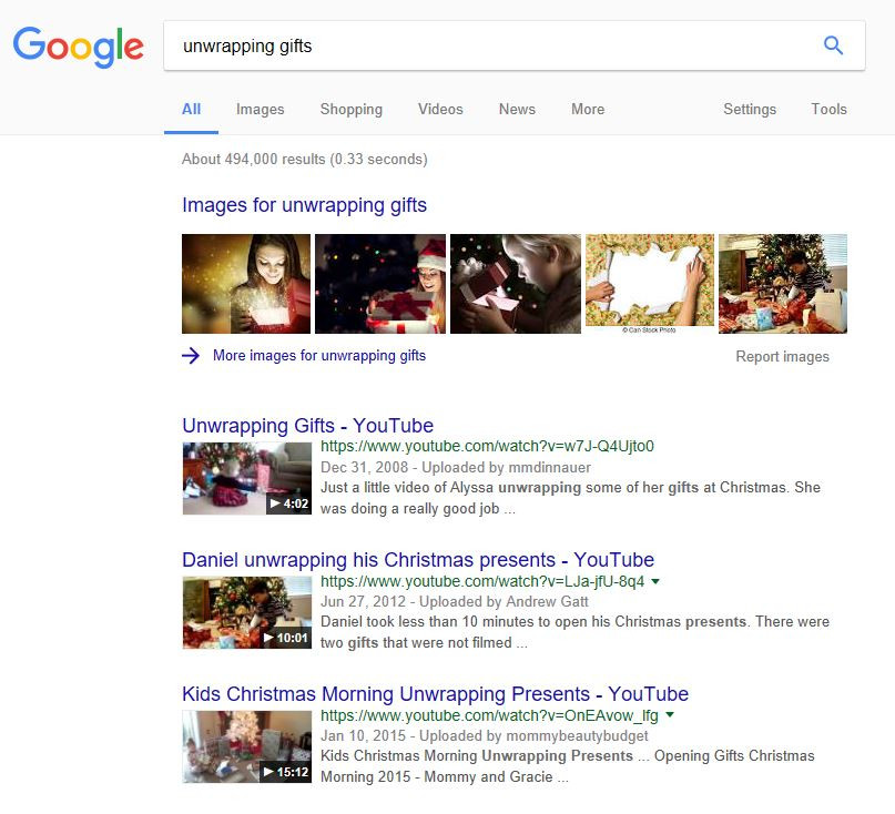 "What is Universal search: Google search results for the keyword ""unwrapping gifts"""