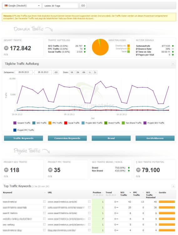 Searchmetrics Suite Project Traffic