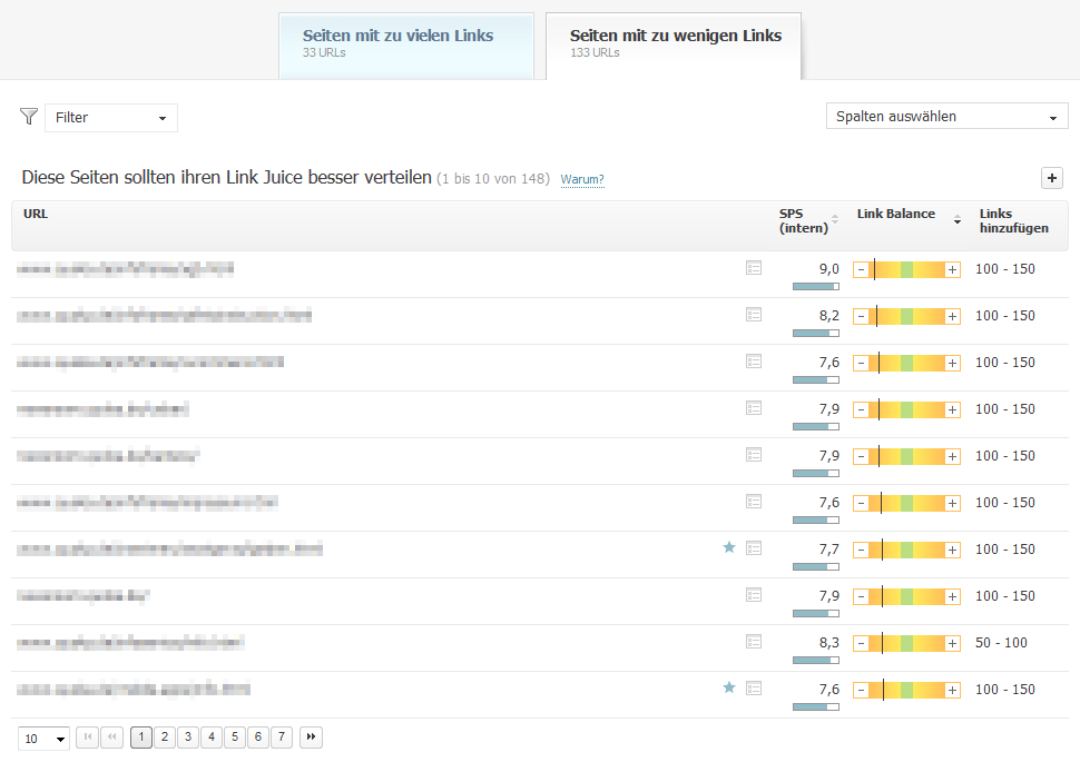 Searchmetrics Suite Link Optimization: Internal Links/Link Juice