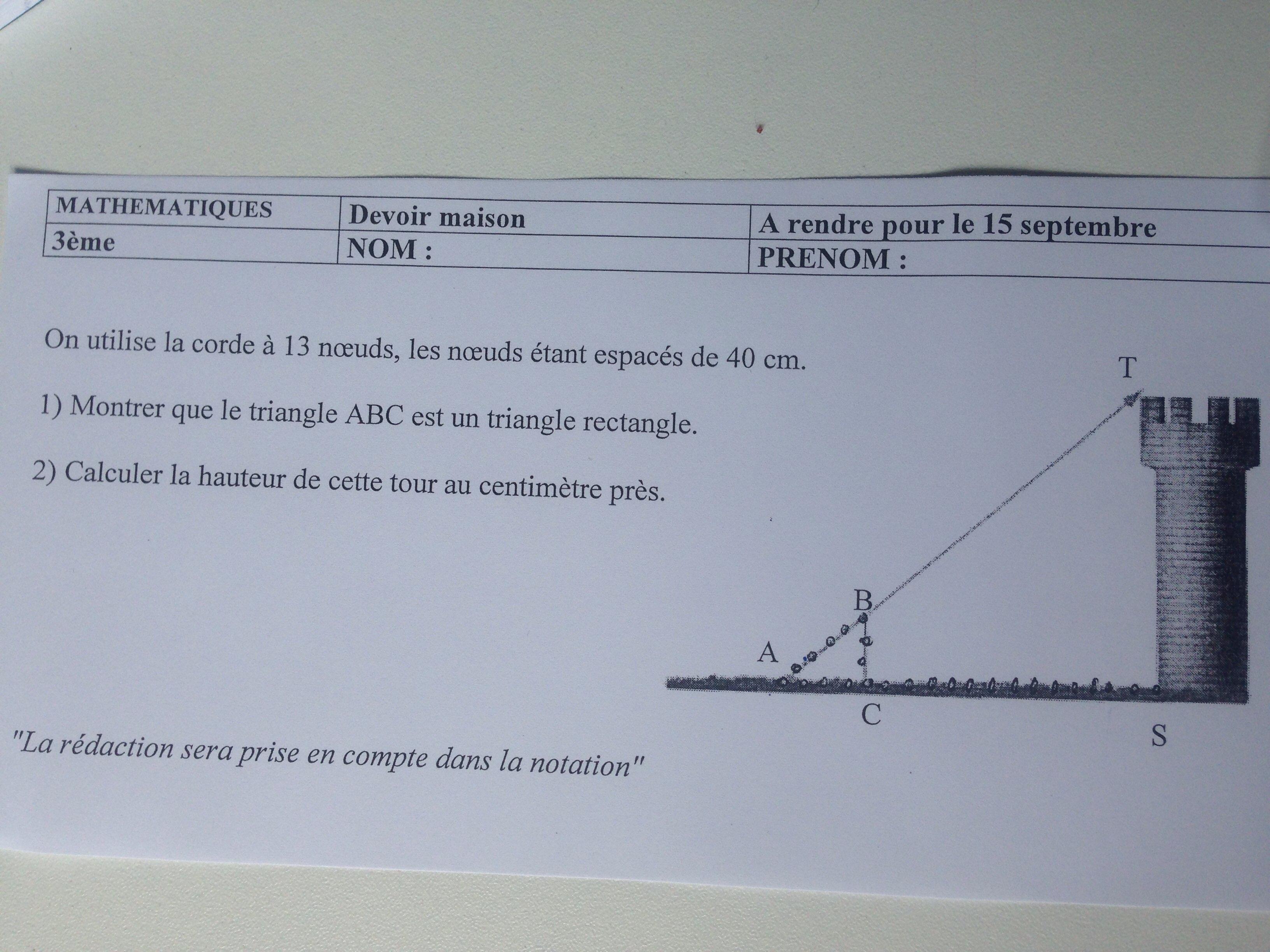 Devoir Maison Math 4Eme Theoreme De Thales   Ventana Blog