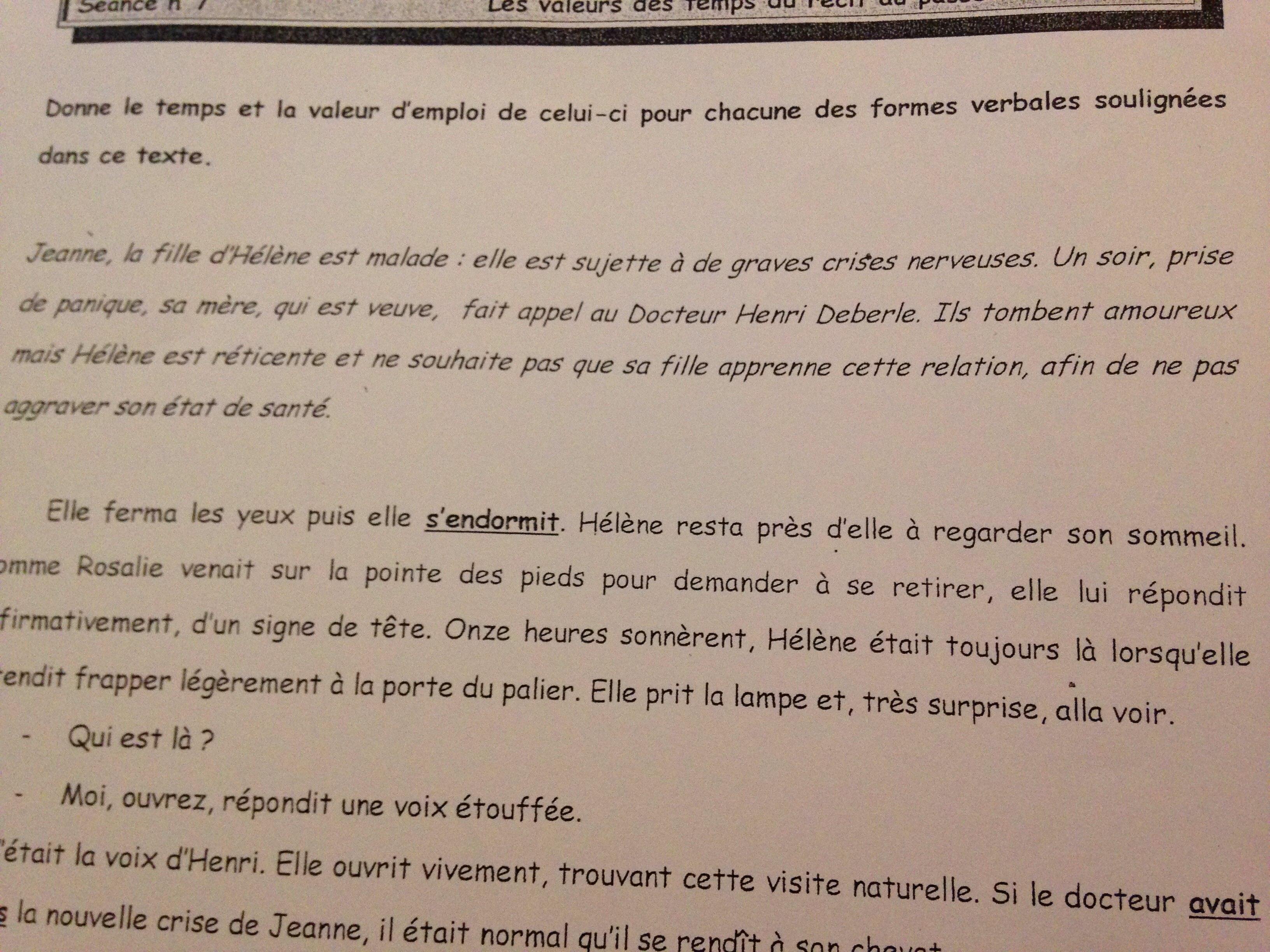 Le Valeurs Des Temps Du Recit Au Passe Digischool Devoirs