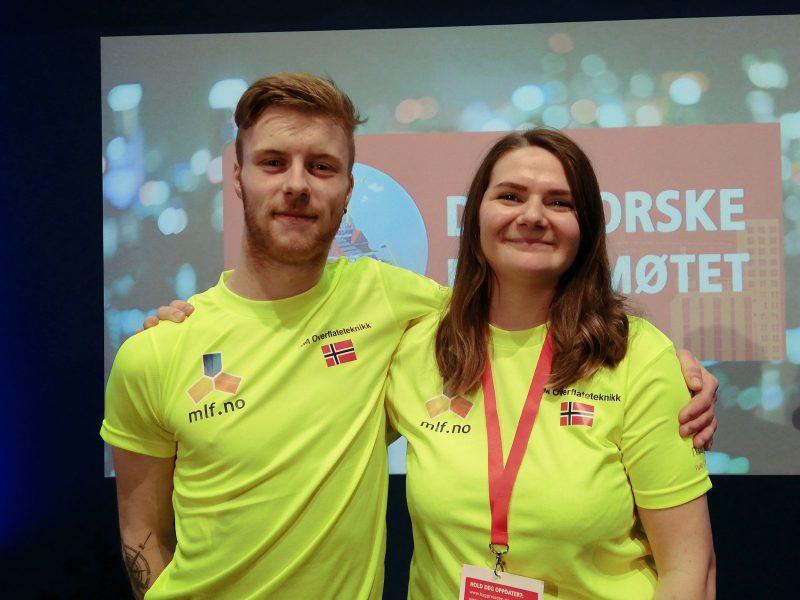 BEST I KLASSEN: Marius Hellestveit og Line Røe Holmli vant NM i overflateteknikk. Førstepremien er en betalt mesterutdanning og muligheten til å lokke flere ungdommer til å velge å bli maler eller gulvlegger.