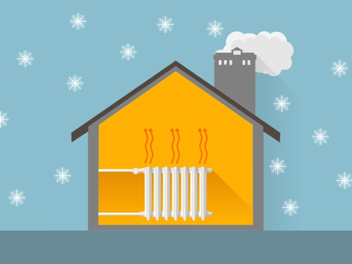 Illustration of a heated house in winter