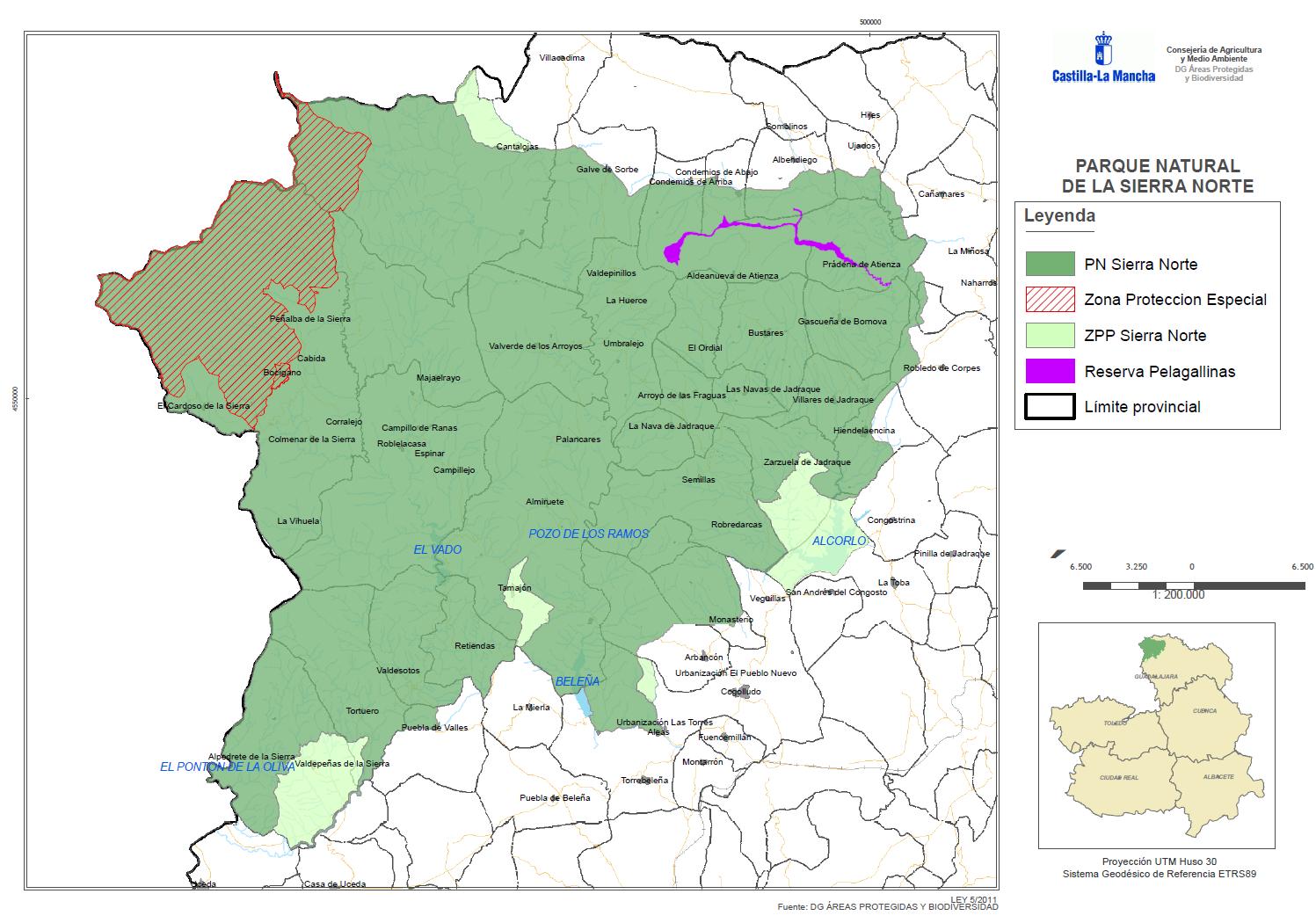 Mapa Parque Natural del Hayedo de Tejera Negra
