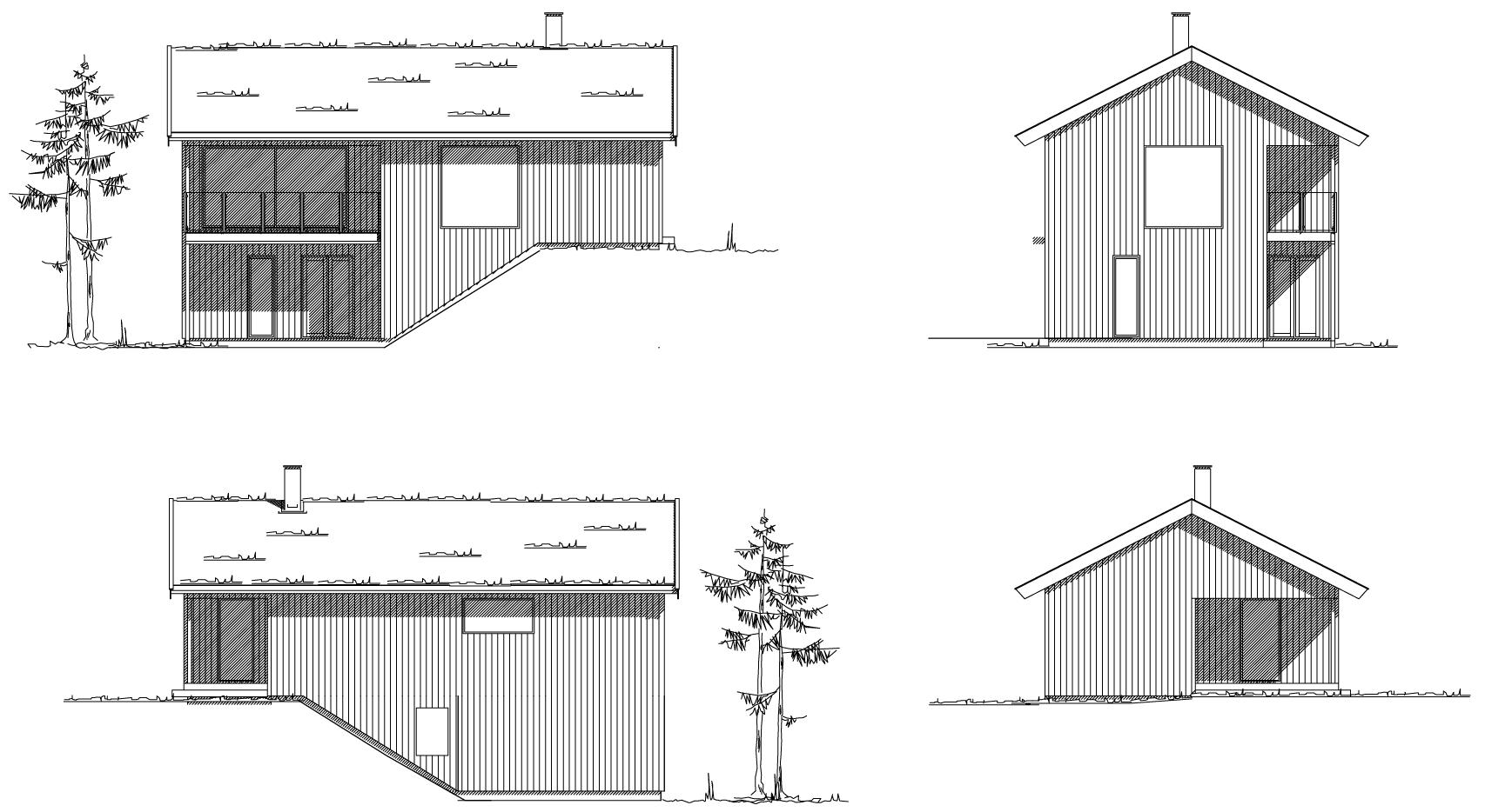 hytte b fasadetegninger