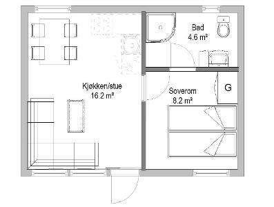 plantegning moderne anneks til hytte