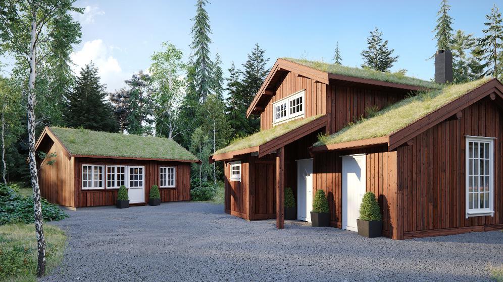 Byggesett anneks med hems til hytte