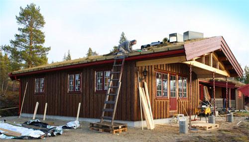 Bilde av mann oppå taket på et hus