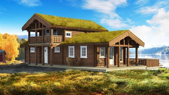 Illustrasjon av ny hytte ved sjøen
