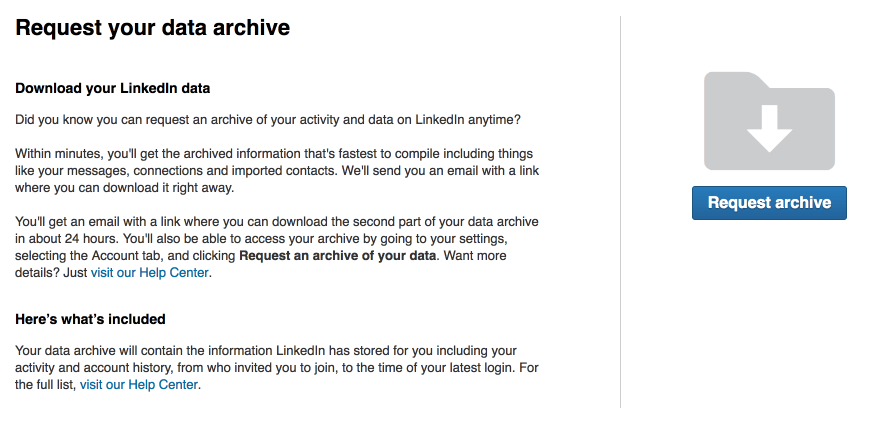 request data archive Linkedin