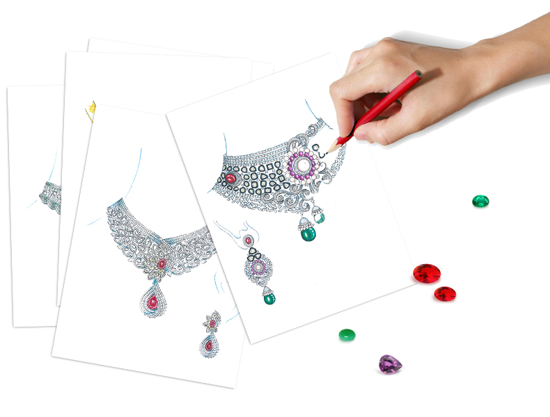 We'll create a sketch of your Indian bridal jewellery set | Customise Your Own Indian Bridal Jewellery With Strand of Silk