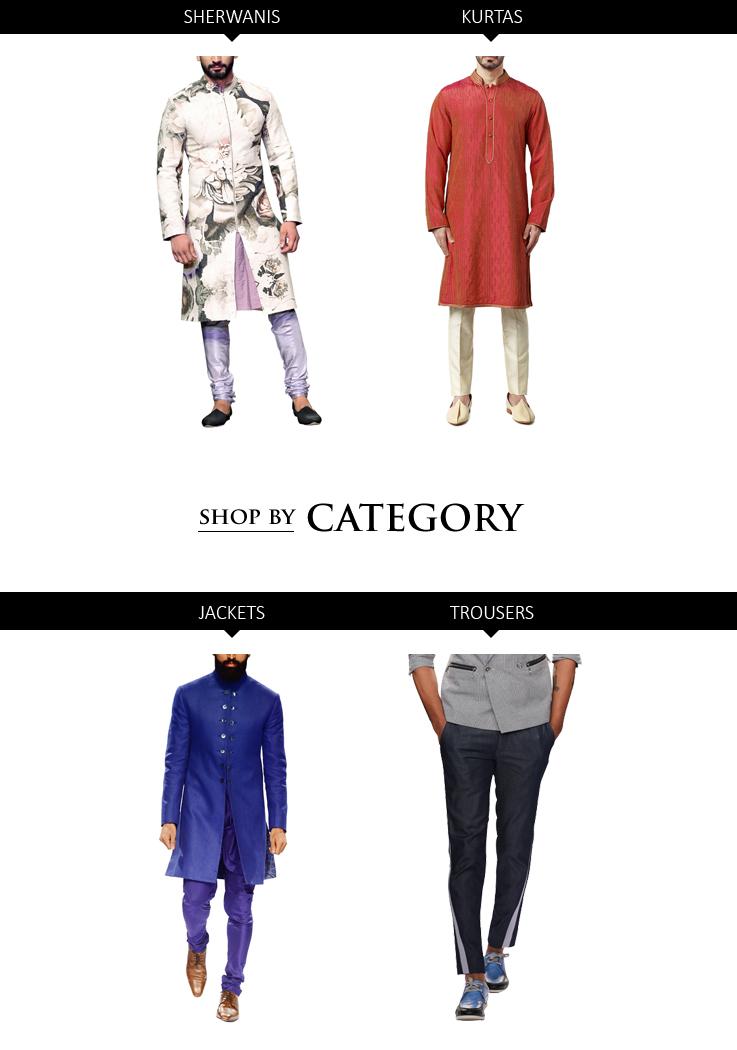 Indian Designer Menswear styles - Sherwanis, Kurtas, Jackets and Trousers