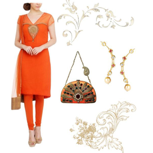Haldi outfit option for female guests including Asymmetrical Orange Suit by Red Couture, Trendy Ear Cuffs by Yosshita Neha and Red and Green Stone Studded Clutch by Meera Mahadevia.