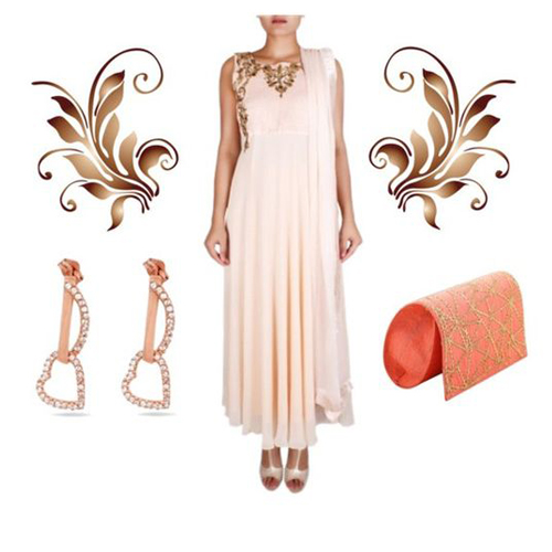 Haldi outfit option for female guests including Flowy Peach Embroidered Anarkali by Nausheen Osmany, Rose Heart Dangler Earrings and Le Calla and Pretty Peach Clutch by Kaleido.