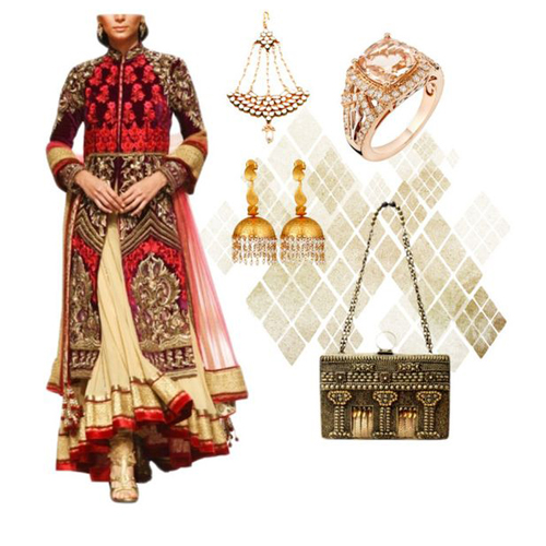 Wedding outfit option for female guests including Stylish Sharara Set by Mandira Wirk, Crescent Kundan and Pearl Passa by Shillpa Purii, Engraved Leaf Hoop Jhumkas by Urban Dhani, Regal Pink Gold Ring by Strand of Silk and Antique Metal Clutch by Meera Mahadevia.