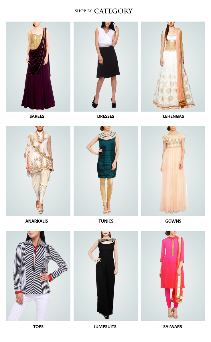 Indian Designer clothes for women including Lehengas, Dresses and Sarees