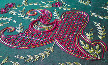 colourful aari embroidery close up