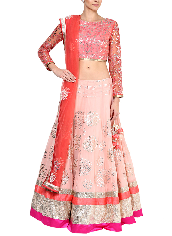 Blush Pink Georgette Lehenga Set by Devnaagri | 5 Essential Indian Outfits Every Woman Should Own