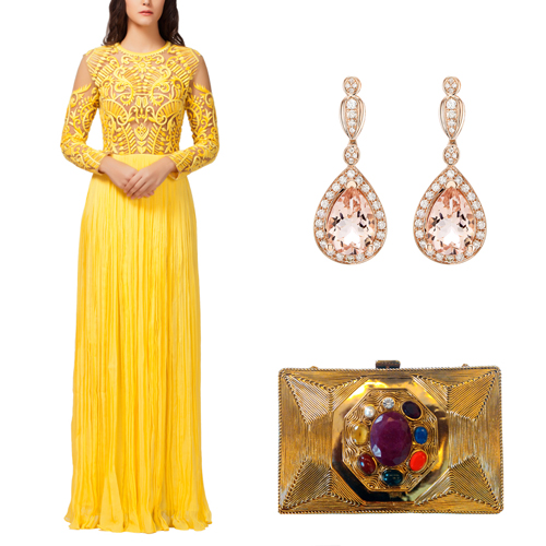 Engagement outfit option for female guests including Yellow Embroidered Cocktail Gown by Kashmiraa, Pear Shaped Stone Earrings by Strand of Silk and Navgraha Stone Gold Clutch by Meera Mahadevia.