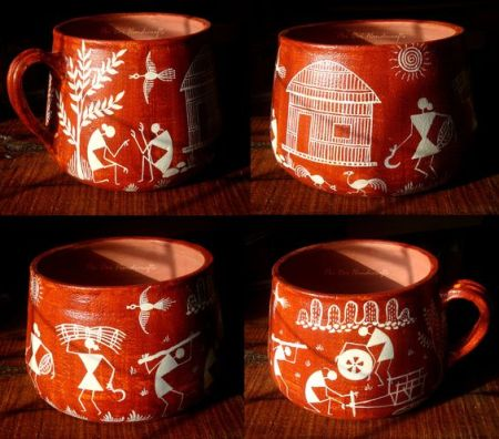 Exploring warli art from maharashtra origins and contemporary uses mugs with warli prints innovating pottery thecheapjerseys Images