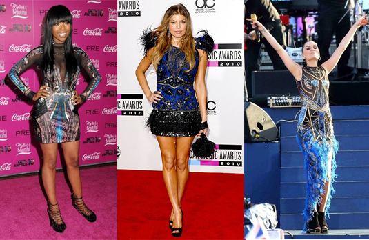 Fergie, Brandy and Jessie J wearing Peacock Dresses | Hollywood Celebrities going GaGa over Indian Designer Duos