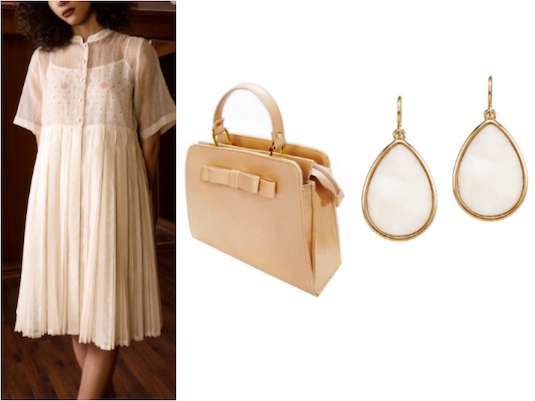 Kanelle's Multipleated Dress with Sheer Bodice and matching nude hued accessories