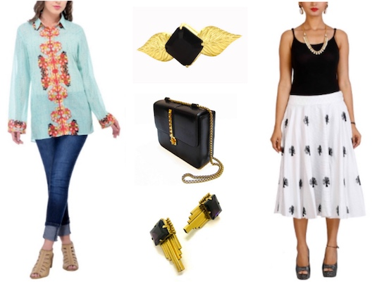 Vivacious Print Shirt, Monochrome Embroidered Skirt paired with simple accessories