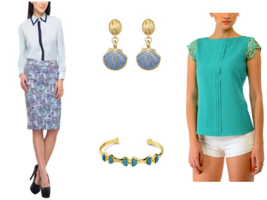 Printed knee length skirt with a matching blue shirt. Paired with delicate and colorful jewellery.