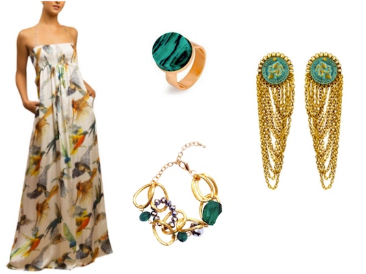 Summery Humming Bird Maxi Dress and emerald coloured accessories