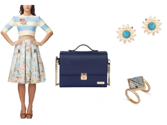 Striped Crop Top Set and Ocean blue jewellery