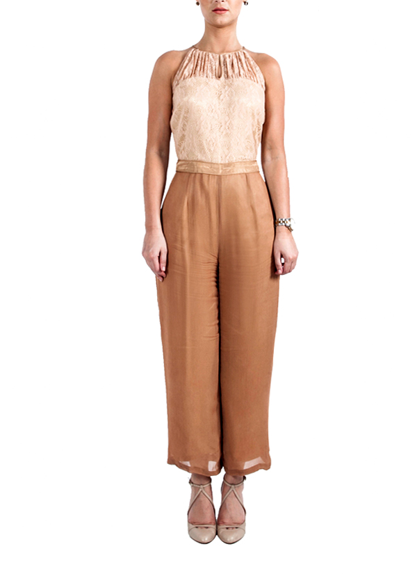 Chic Nude and Beige Jumpsuit