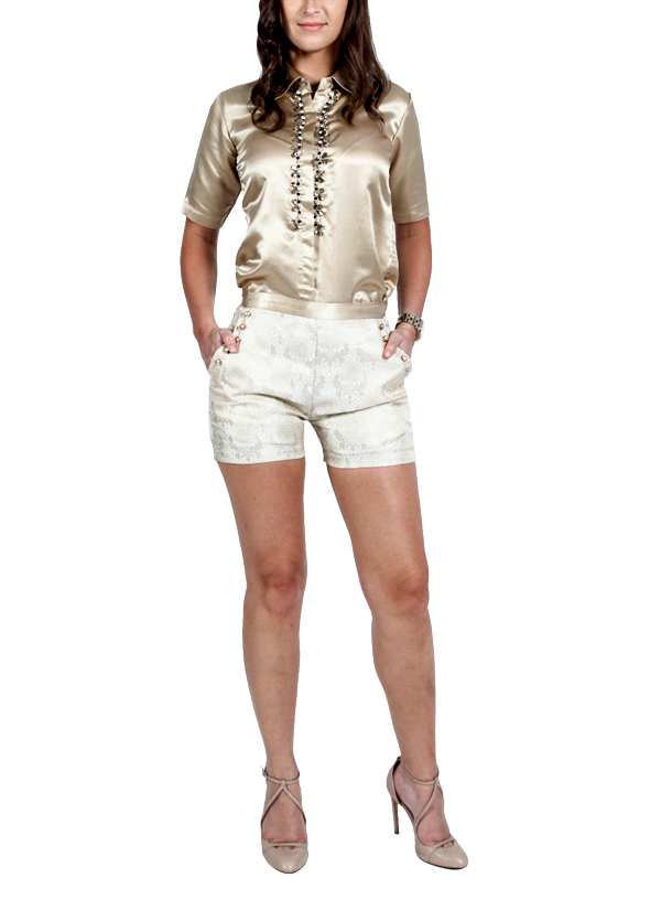 Bejewelled Metallic Gold Shirt