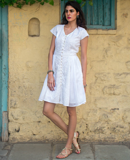 Journey Map - Western Dress with Chikankari Embroidery