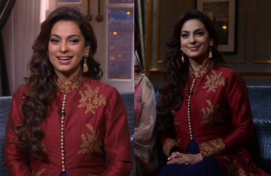 Juhi Chawla Wearing Red Kurta   The Best & the Worst Dressed on Koffee with Karan