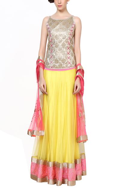 Vibrant Embellished Lehenga | Modern Indian Wedding Dresses for the Haldi Ceremony