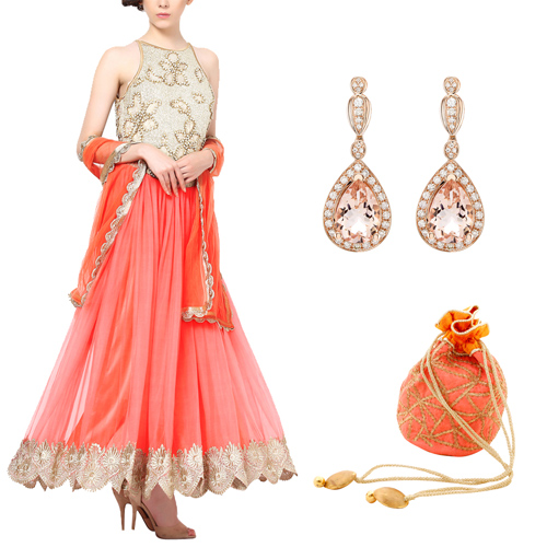 Mehendi outfit for female guests including Peachish Pink Anarkali by Red Couture, Pear Shaped Stone Earrings by Strand of Silk and Peach and Yellow Web Potli by Kaleido.